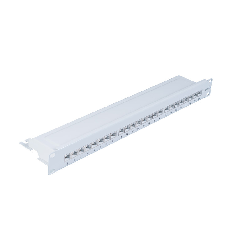 Patchpanel Patchfeld Cat.6A, 24-Port lichtgrau