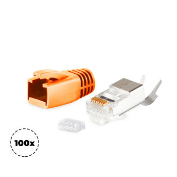 Stecker SET für Verlegekabel bis AWG 23 Orange VE100
