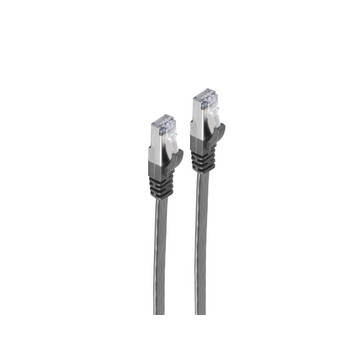 RJ45 Flachkabel m. CAT 7 Rohkabel slim sw 1m